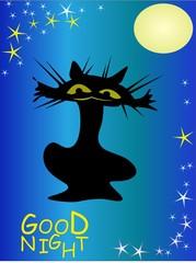 Postcard good night. Card with cat, moon