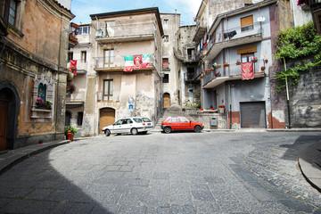 Street in the typical sicilian village Castiglione di Sicilia. Italy.