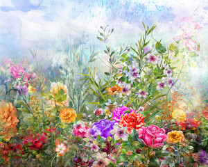 Abstract colorful flowers watercolor painting. Spring multicolored in .nature