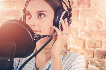 Girl in Audio Recording Studio
