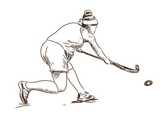 Sketch of Hockey player playing game in vector illustration.
