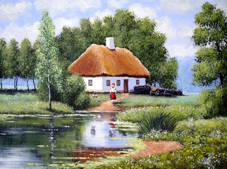 Landscape,oil painting on canvas - Ukraine house in the forest and river