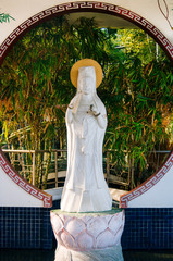 Decorative figures of saints at Taoist temple on Island of Cebu Philippines