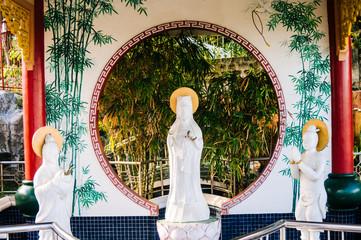 Decorative figures of saints at Taoist temple on Island of Cebu Philippines