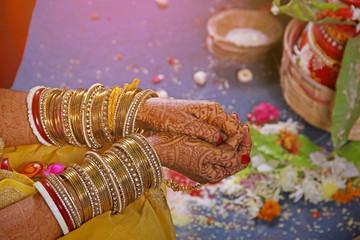 bangles set in bridal hand