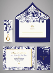 Set of Template wedding invitation and envelope with hand drawn floral ornament. Greeting card design. Vector illustration.
