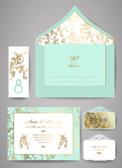 Set of Template wedding invitation and envelope with floral golden ornament. Greeting card design. Vector illustration.