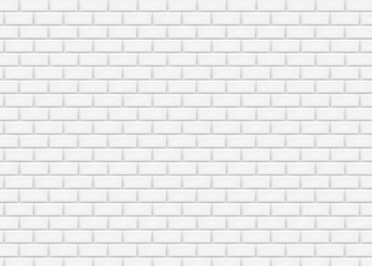 White brick wall in subway tile pattern. Vector illustration. Wall mural