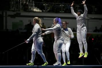 Fencing - Women's Sabre Team Bronze Medal Match