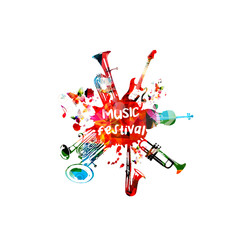 Music poster for music festival with instruments. Colorful euphonium, double bell euphonium, saxophone, trumpet, violoncello and guitar with music notes isolated vector illustration design