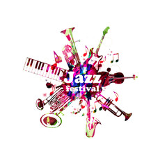 Music poster for jazz festival with music instruments. Colorful euphonium, piano keyboard, double bell euphonium, saxophone, trumpet, violoncello and guitar with music notes isolated vector design