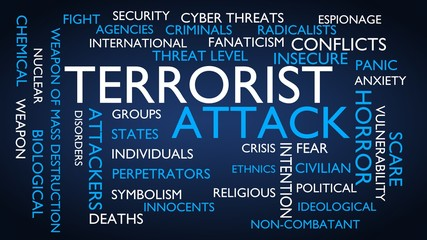 Terrorist attack word tag cloud. 3D rendering, blue variant.