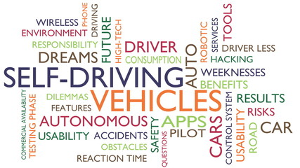 Autonomous self-driving vehicles word tag cloud. 3D rendering, white variant.