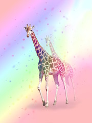Crazy colorful giraffe