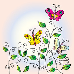 Floral greeting card. Doodle flower and butterfly e