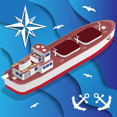 Tanker Ship on the waves. Isometric. Vector illustration.