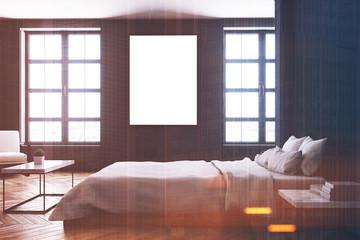 Black bedroom interior, table side toned