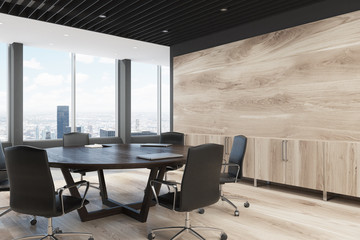 Light wooden meeting room corner