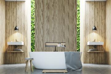Eco bathroom two sinks, wood