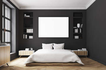 Black bedroom interior, poster, front