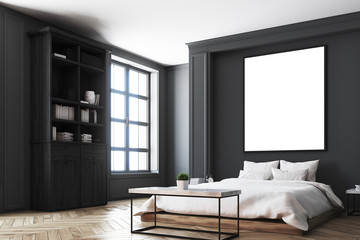 Black bedroom interior, poster corner