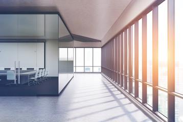 Transparent conference room concrete, side toned