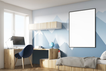 Kids room with poster and mountain corner
