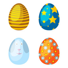Easter eggs spring colorful celebration decoration holiday vector icons.