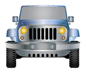 Jeep blue in front vector eps 10