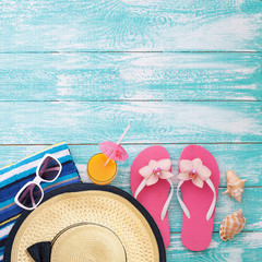 Summer fun time and accessories on blue wooden background. Mock up