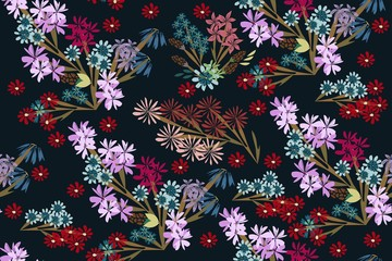 Cute simple flowers. Seamless pattern with wildflowers. Floral ornament for textiles, Wallpaper, packaging.