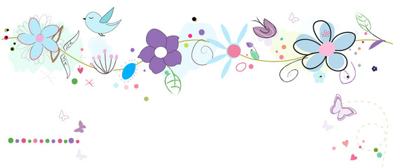 Colorful lovely summer flowers. Floral banner background