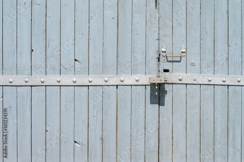 Old Painted Wooden Garage Door Of Grey Color Stock Photo And