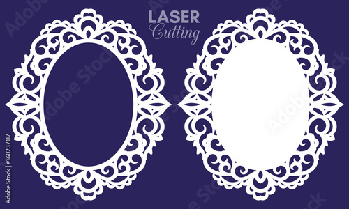 a4b44ed768a5 Laser cut vector abstract oval frames with swirls