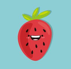 Strawberry kawaii cartoon cute design flat icon vector stock