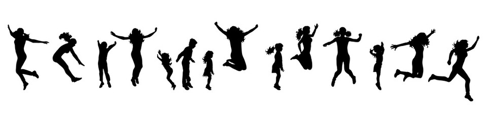Vector silhouette of people who jump on white background.