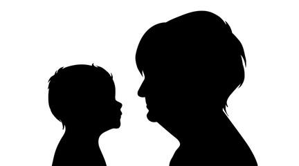 Vector silhouette of faces of family on white background.