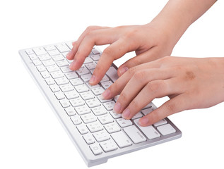Woman working at home office hand on keyboard on white background