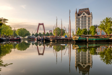 Deurstickers Rotterdam Rotterdam city cityscape skyline with, Oude Haven, Netherlands.