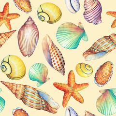 Seamless pattern with underwater life objects, isolated on yellow background. Marine design-shell, sea star.  Watercolor hand drawn painting illustration. Element for posters, greeting cards.