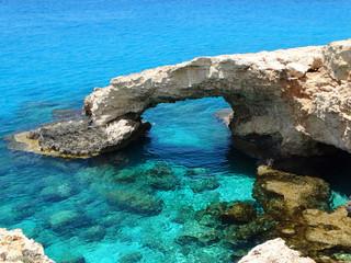 Aluminium Prints Cyprus rocky coast landscape mediterranean sea Cyprus island