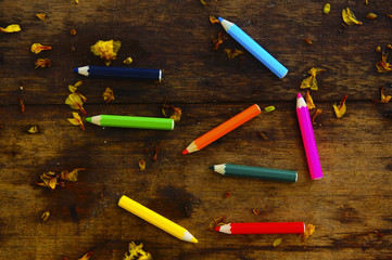 Colourful Colour Pencil Over Wooden Background