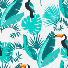 Seamless tropical background. Toucan and foliage. vector illustration.