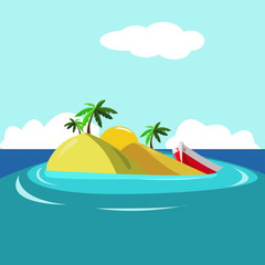 illustration of cartoon seascape