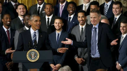 U.S. President Barack Obama makes a reference to Golden State Warriors' head coach Steve Kerr at an event honoring the 2015 NBA basketball champions at the White House in Washington