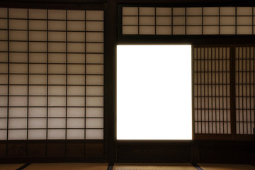 Traditional Japanese Interior window, Made from bamboo wood and paper, Opened window is clipping path