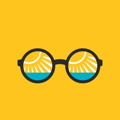 Reflection of the sea in glasses