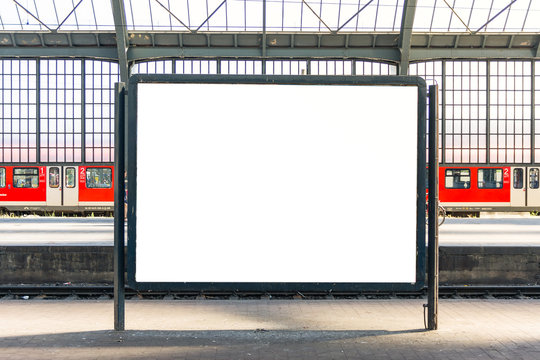 Train Station Billboard Poster Blank White Isolated Template Urban City Environment