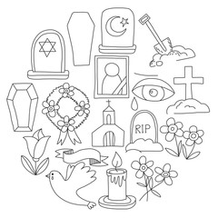 Funeral thin line icon. Set of funeral objects Doodle vector icons RIP