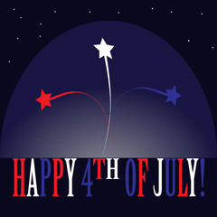 Laconic cartoon emblem for the national American holiday - Independence Day of the USA. There are the white, red and blue stars and colorful inscription Happy 4th of July